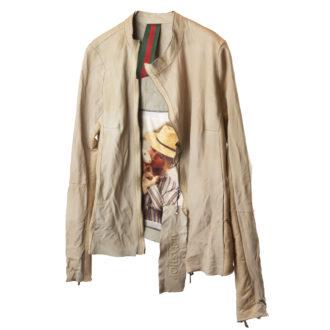 giacca pelle beige