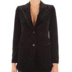 Blazer nero: giacca in velluto con borchiette dorate di Aniye By