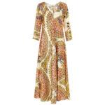 Abito scollo a V: vestito donna lungo fantasia vintage