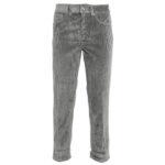 Pantaloni argento: cinque tasche in velluto a coste silver
