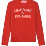 Maglione rosso donna: pull con stampa Champagne & Montagne by Mc2 Saint Barth