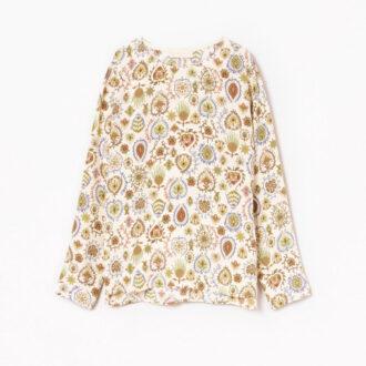 Blusa panna in crepe de china di seta: camicia stampata multicolor
